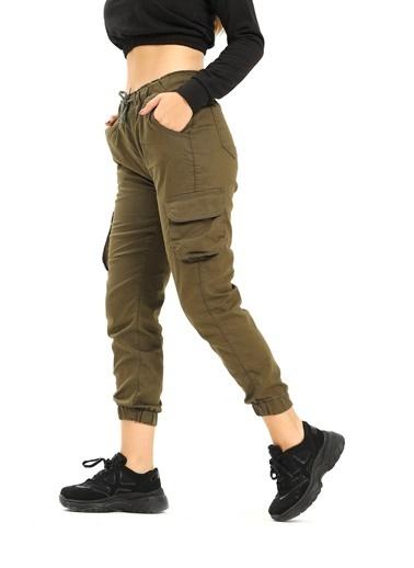 Modaplaza Kadın Pantolon Haki Kargo Cepli Haki